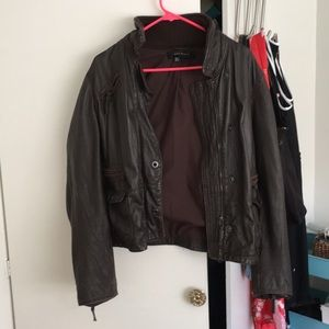 Zara Leather Bomber Style Jacket